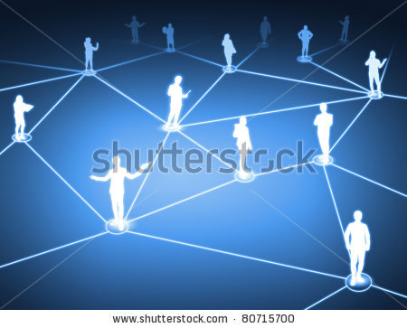 stock photo : worker standing on a virtual connection, network